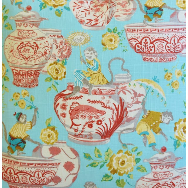 """Aqua Chinoiserie Playful Monkeys & Chinese Vases Feather/Down Pillows 26"""" Square - Pair For Sale - Image 4 of 13"""