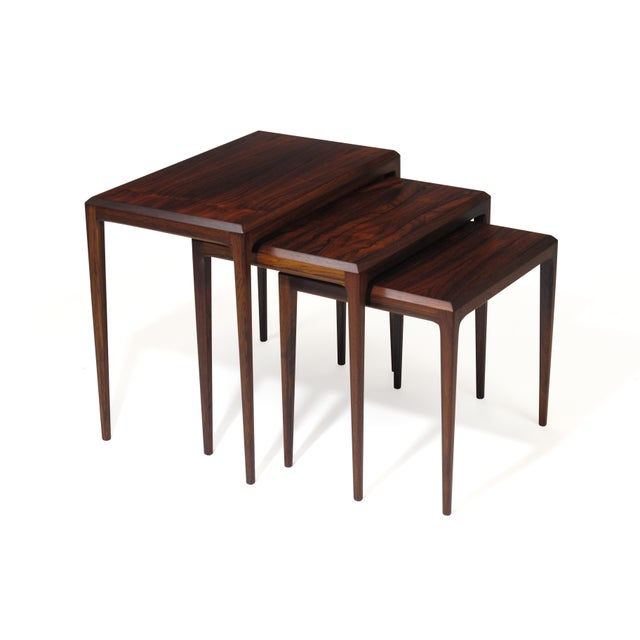 Rosewood Johannes Andersen for Cf Christensen of Silkeborg Nesting Tables For Sale - Image 11 of 11
