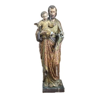 19th Century Painted and Carved Wood Near-Life Size Statue of St.Joseph & Jesus For Sale
