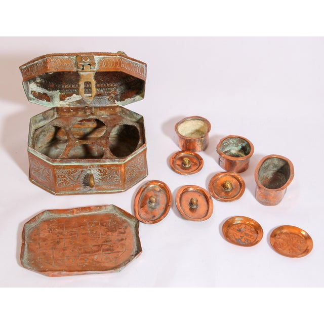 Gold Anglo-Indian Handcrafted Tinned Copper Metal Spices Caddy Box For Sale - Image 8 of 13