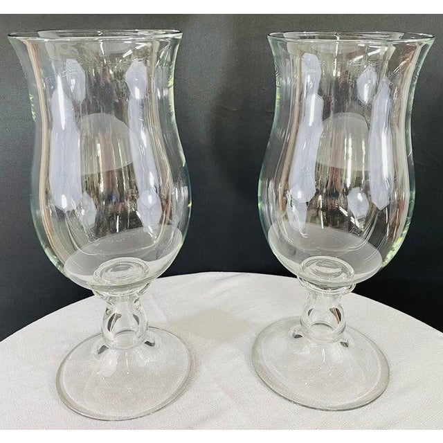 Modern Modern Clear Glass Candleholder or Vase, a Pair For Sale - Image 3 of 10