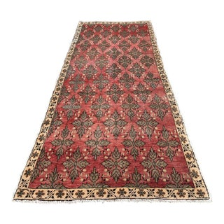 Vintage Turkish Anatolian Hand Knotted Burgundy Pastel Color Leaf Rug - 3′10″ × 9′8″