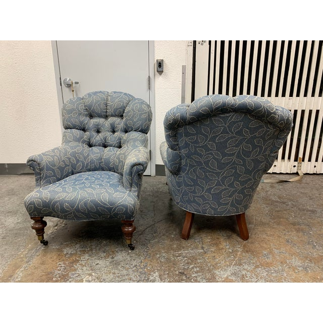 2010s Ethan Allen Redgrave Tufted Arm Chairs - a Pair For Sale - Image 5 of 10