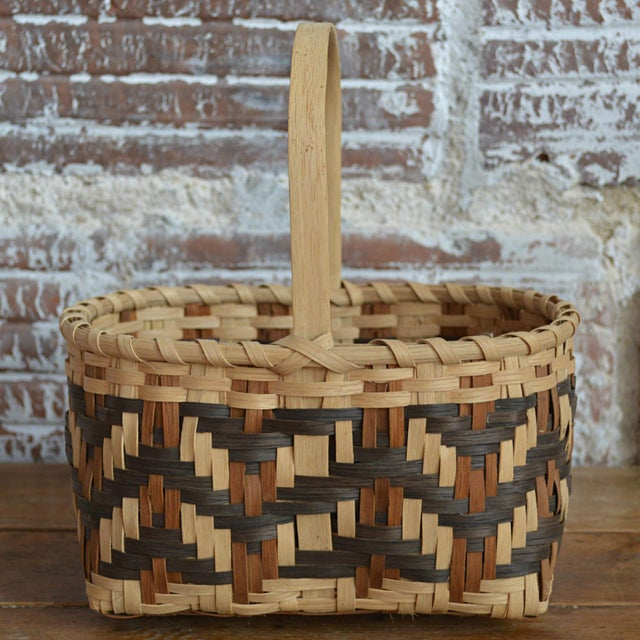 Cottage Carol Welch Cherokee White Oak Small Market Basket For Sale - Image 3 of 9
