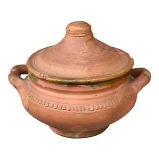 20th Century Boho Chic Terracotta Lidded Pot