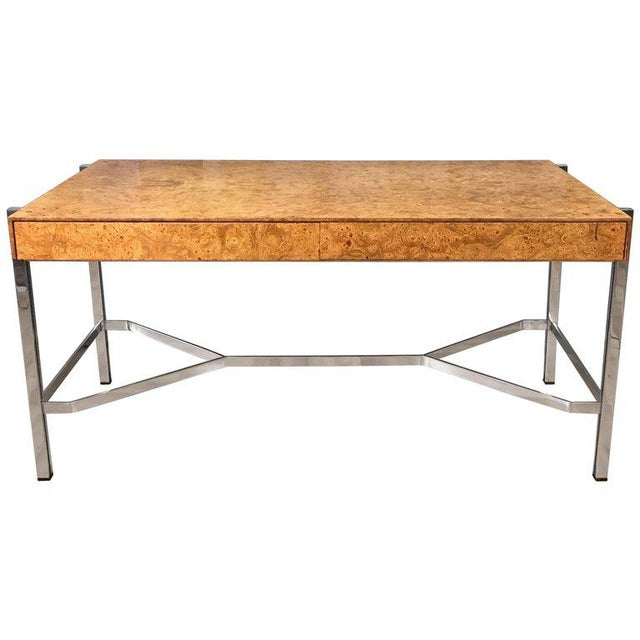 Notable Jack Freidin for Pace Burl Wood and Chrome Desk - Image 11 of 11