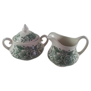 English Ironstone Floral Cream and Covered Sugar For Sale