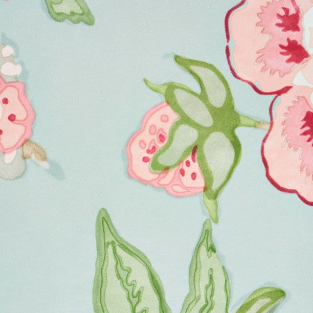 Schumacher Schumacher x Mary McDonald Bermuda Blossoms Wallpaper in Aqua , Sample For Sale - Image 4 of 6
