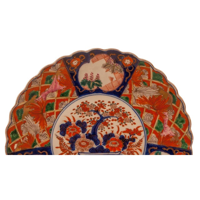 Asian 1880s Japanese Imari Porcelain Scalloped Charger Plate For Sale - Image 3 of 6