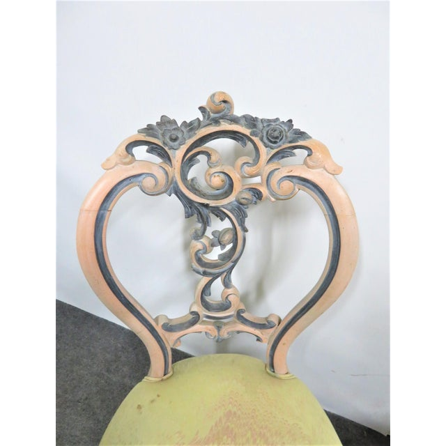 Victorian Late 19th Century Victorian Rose Carved Painted Side Chair For Sale - Image 3 of 10