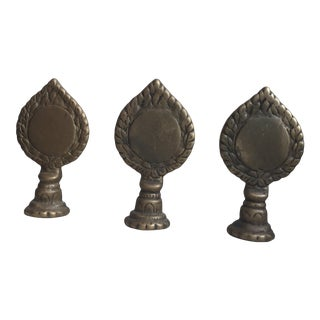 Early 20th Century Antique Trio of Brass Ritual Mirrors - Set of 3 For Sale