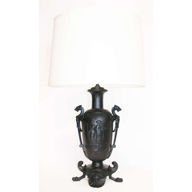 Bronzed metal lamp in the neo-classical manner. Wonderful example of the 19th Century Neo-Grec style.