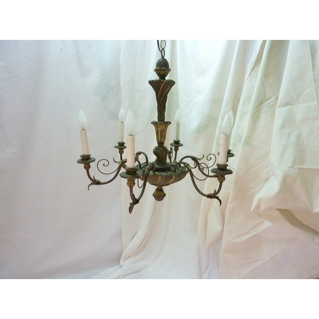 Italian Painted Iron & Wood Chandelier - Image 2 of 8