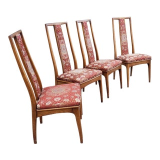 Set 4 Mid Century John Stuart Walnut Dining Room Side Chairs C.1950 For Sale