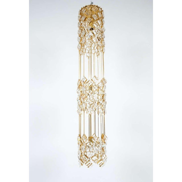 Palwa Golden Brass and Crystal Column Chandelier Lamp by Palwa, 1960 For Sale - Image 4 of 9