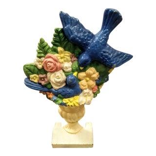 Vintage Flower Basket Large Blue Birds in Urn Cast Iron Door Stop For Sale