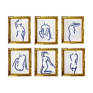 """Lindsey Weicht """"Female Figure Study, Prussian Blue"""" Contemporary Paintings - Set of 6"""