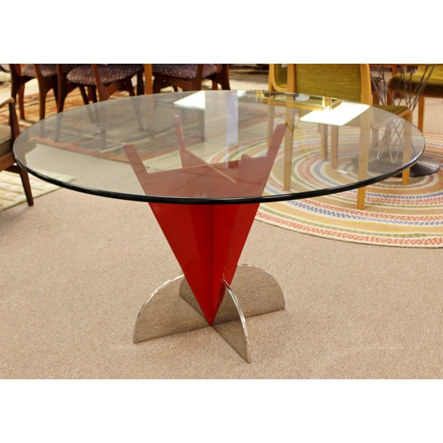 For your consideration is a unique dining or dinette table, made of red painted iron and with a round glass top, in the...
