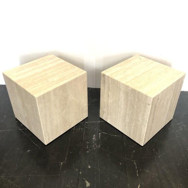 Artedi Italian Marble Cube Side Tables - a Pair For Sale - Image 4 of 8