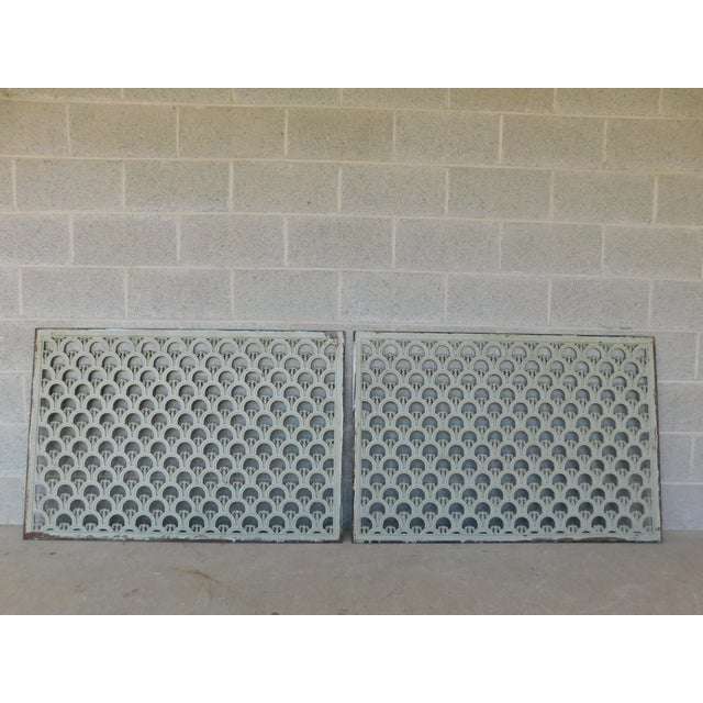 White Large Antique Wrought Iron Trefoil Design Wall Heat Grate Decor 46w - a Pair For Sale - Image 8 of 8