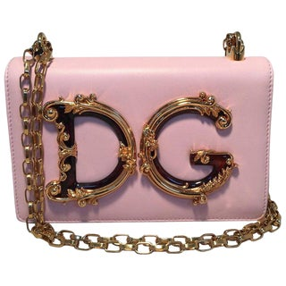 Nwot Dolce and Gabbana Dg Girls Pink Nappa Leather Shoulder Bag For Sale