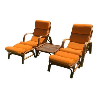 Calif Asia Rattan Lounge Chairs and Table For Sale
