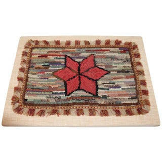 Early 19th Century Ne Mounted Mini Star Hooked Rug - 1′2″ × 1′8″