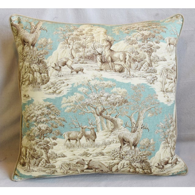 "English Woodland Toile Deer & Velvet Feather/Down Pillows 25"" Square - Pair For Sale - Image 3 of 13"
