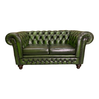 Vintage Mid-Century English Leather Chesterfield 2 Seat Sofa, Green For Sale