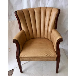Mid Century Channel Back Vinyl Wing Back Chair Preview