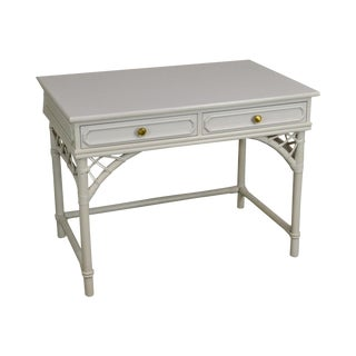 Ficks Reed Vintage White Painted Rattan Writing Desk For Sale
