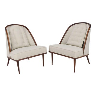 Mid-Century Modern Oiled Walnut Frame Barrel Back Lounge Chairs For Sale