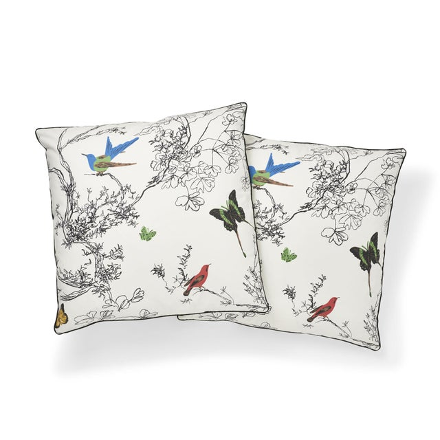 """This 20"""" x 20"""" pilllow features Birds & Butterflies, our celebrated and ever-popular pattern derived from a handprinted..."""