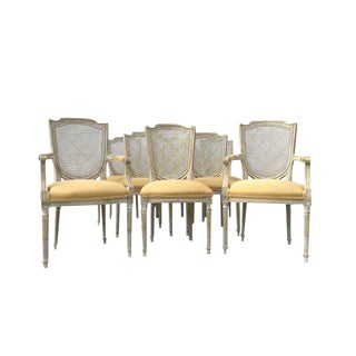 1970s Vintage French XVI Style Painted Dining Chairs- Set of 8 For Sale