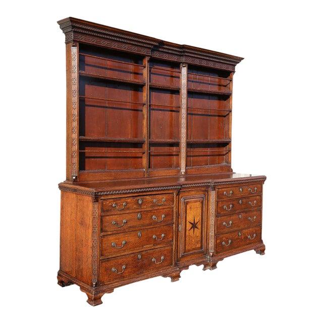 George III Oak And Inlaid Cupboard/ Dresser For Sale