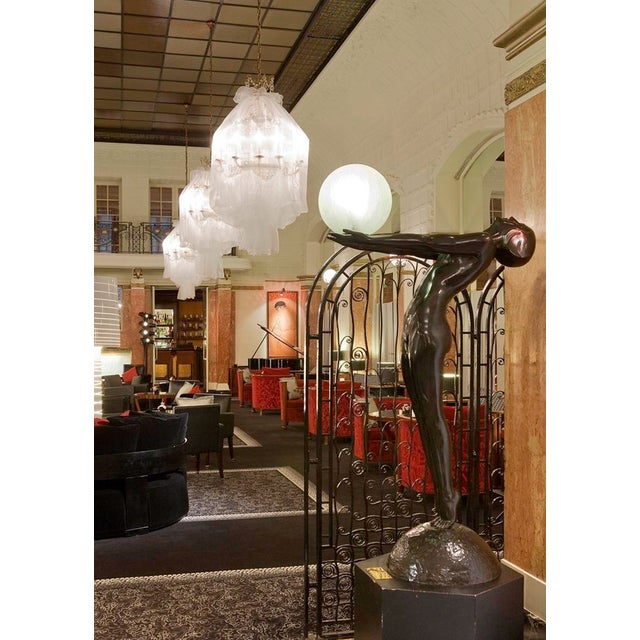 """Silver 6 Foot Art Deco """"Clarte"""" Biba Nude Floor Lamp in the Style of Max Le Verrier For Sale - Image 8 of 9"""