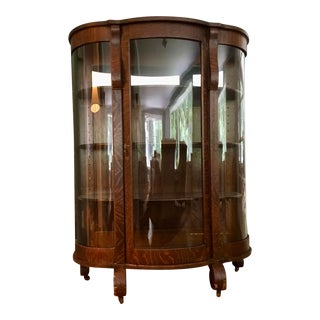 Antique Chittendon & Eastman American Bow Glass China Cabinet For Sale