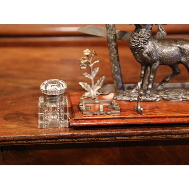Mid 20th Century French Spelter and Cut Glass Inkwell With Deer Sculpture For Sale In Dallas - Image 6 of 10