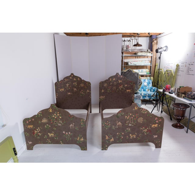 Folk Art Custom-Painted Twin Beds - a Pair For Sale - Image 13 of 13