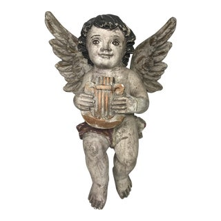Vintage Carved Wood Religious Sculpture of Hanging Angel For Sale
