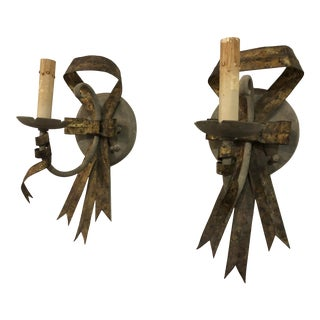 Late 20th Century Metal Ribbon Sconces by Currey & Company - a Pair For Sale