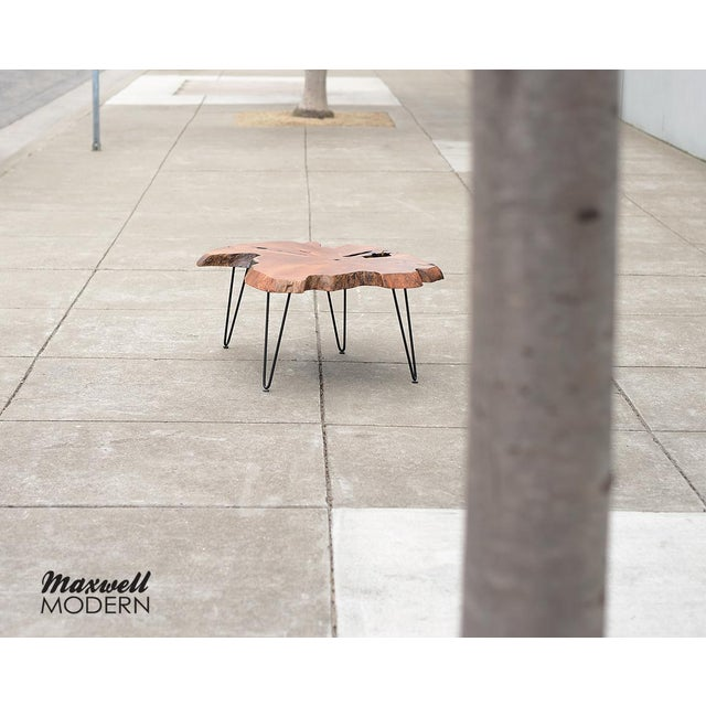 Mid Century Modern Live Edge Coffee Table With Hairpin Legs For Sale - Image 9 of 10