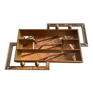 Art Deco Gold Wall Mounted Shadow Box For Sale