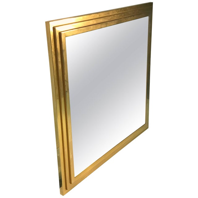Modern Square Gold Tone Framed Metal Mirror For Sale
