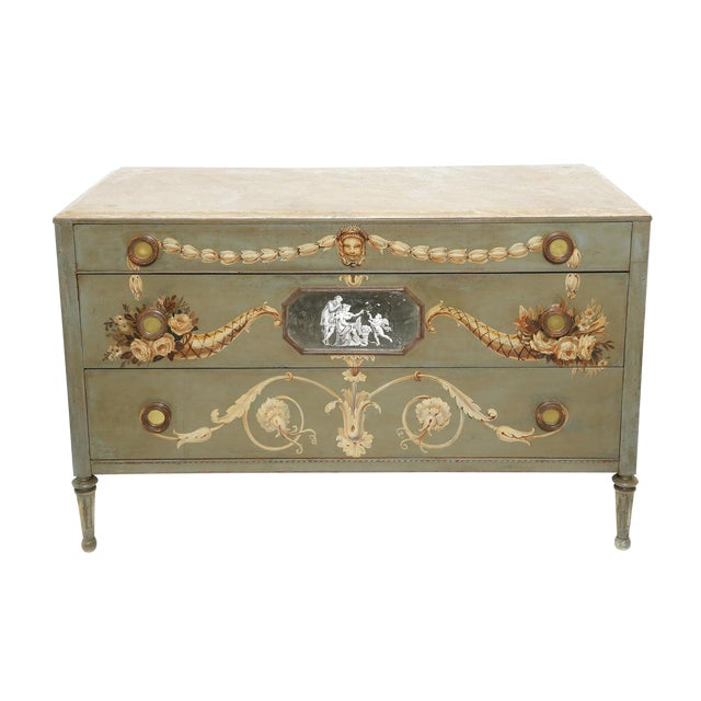 Hand-Painted Italian Commode With Églomisé Plaque For Sale