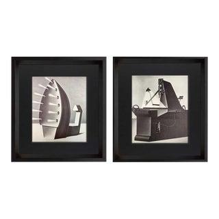 """Konrad Klapheck """"Fanatique & La Mére.."""" Lithograph Ltd. Ed. W/Frame - Set of 2 For Sale"""