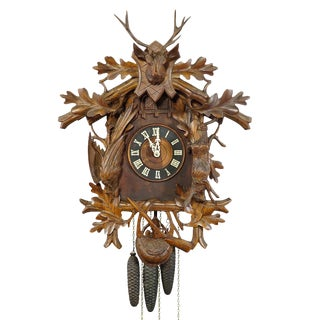 Black Forest Carved Wood Cuckoo and Quail Clock With Deer Head For Sale