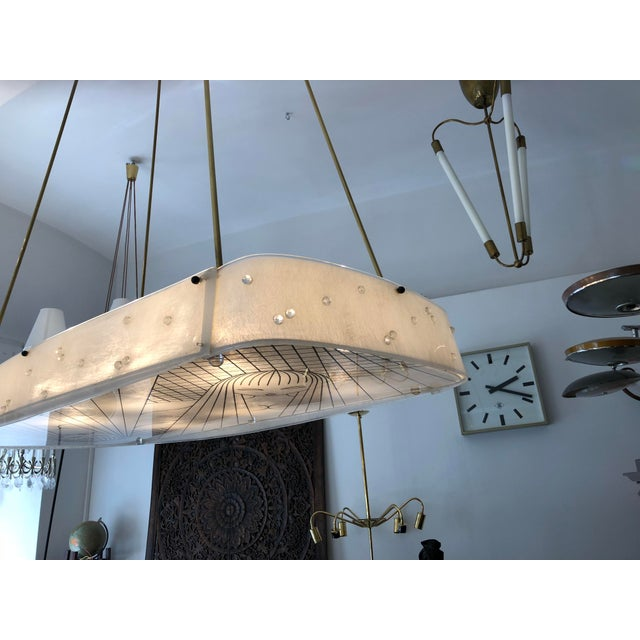 Beautiful Midcentury Chandelier With Handmade Shades For Sale - Image 6 of 12