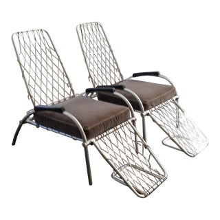 Warren McArthur Style Mid-Century Ocean Liner Deck Chairs - a Pair For Sale