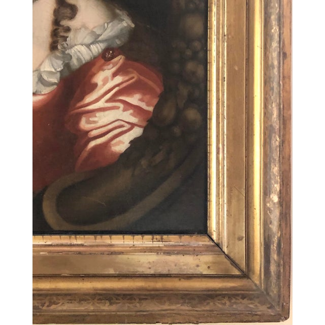 Ruby Red 17th Century Oil on Canvas Painting For Sale - Image 8 of 13
